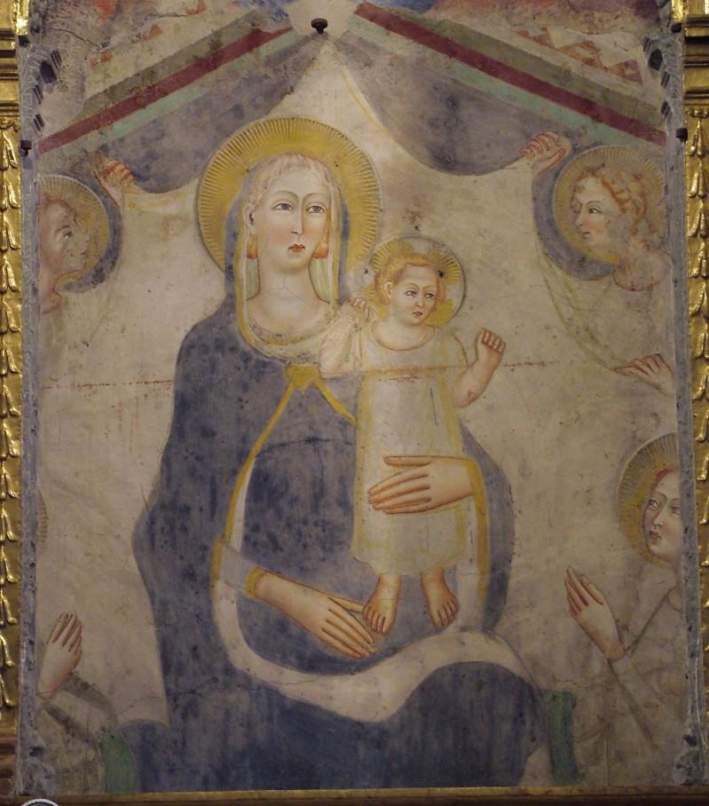 Ambito perugino sec. XIV, Madonna con Gesù Bambino e angeli reggicortina