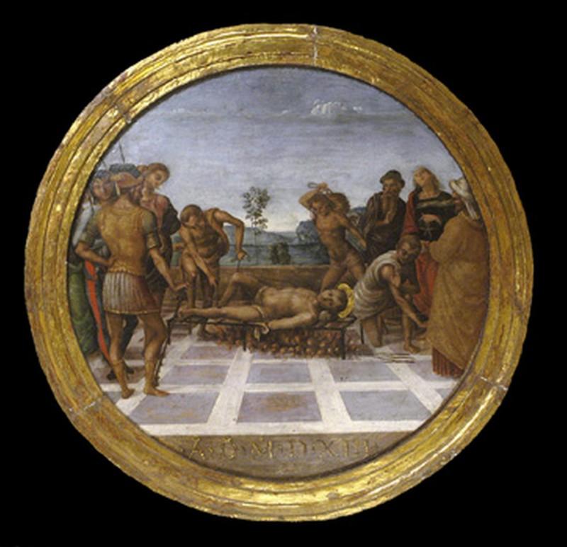 Giannicola di Paolo (1513), San Lorenzo viene martirizzato