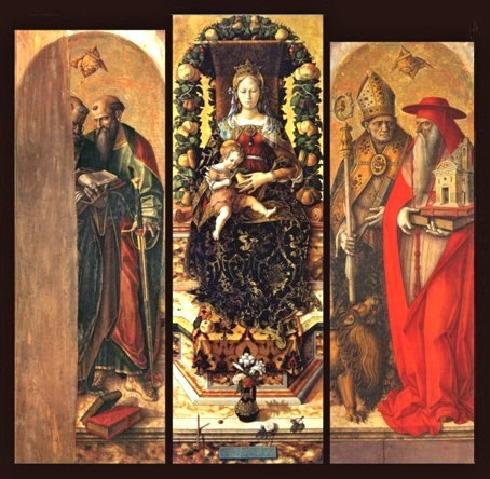 Il polittico del duomo di Camerino, opera di Carlo Crivelli 1490 ca.