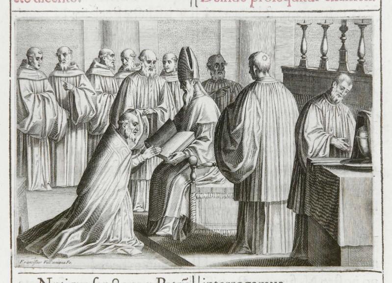 Villamena F. (1595), Benedizione dell'abate