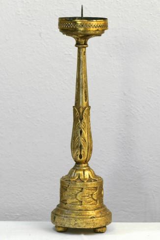 Ambito bergamasco sec. XIX, Candeliere in legno intagliato con fogliami 1/6