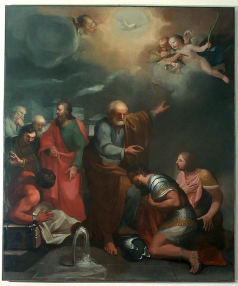 Ambito lombardo sec. XVII, San Pietro battezza in carcere Processo e Martiniano