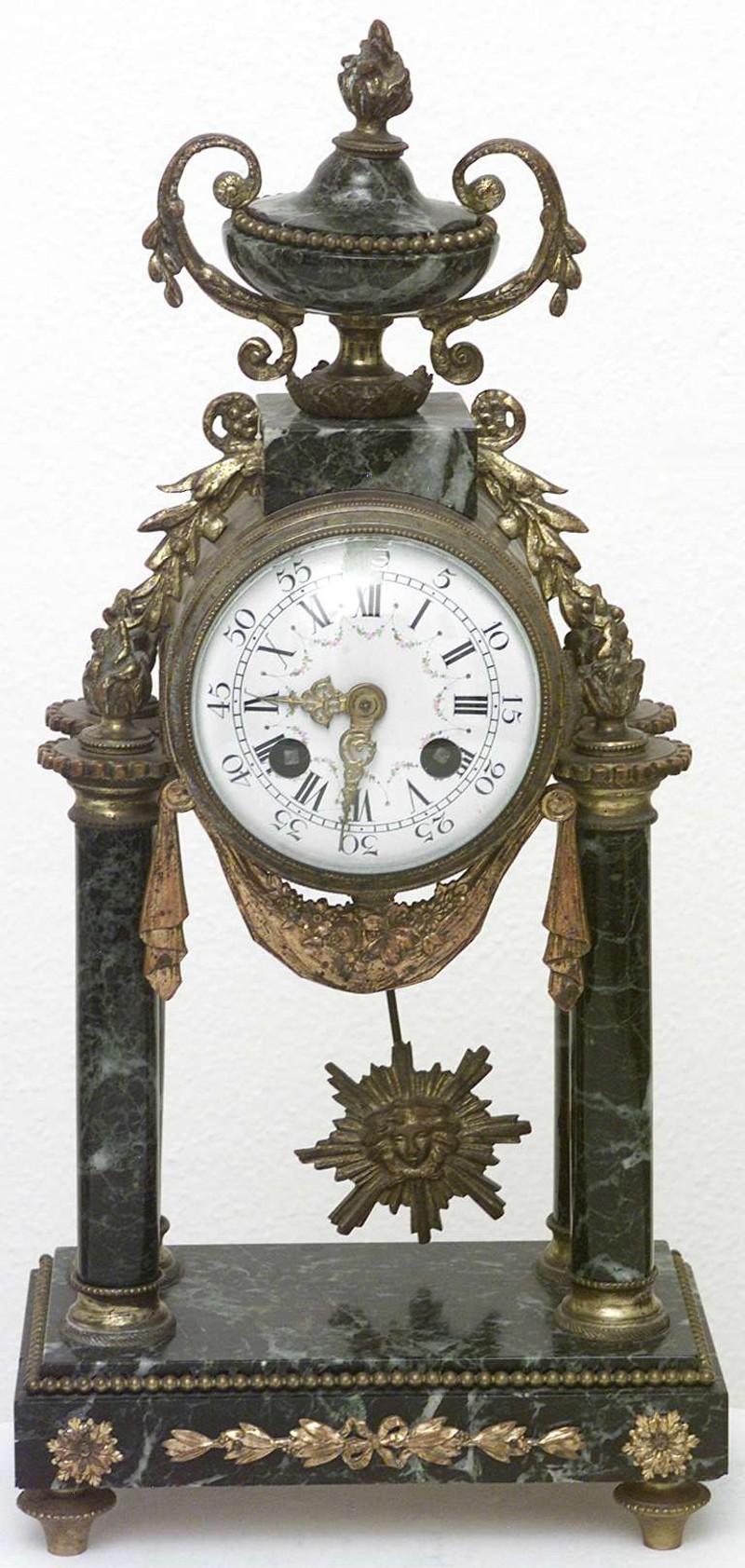 Ambito francese (?) sec. XIX, Orologio in marmo e ottone