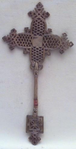 Ambito copta sec. XIX, Croce votiva argentata in rame
