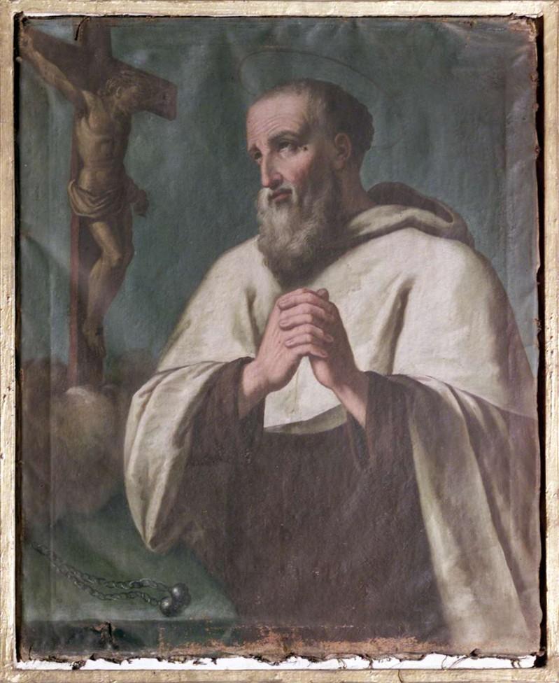 Ambito lombardo sec. XVIII, Santo carmelitano con crocifisso