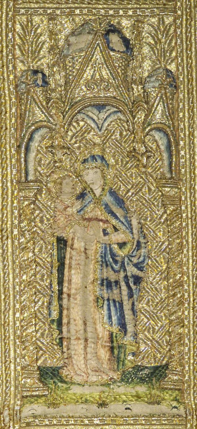 Manifattura veneziana sec. XV, Madonna con Gesù Bambino
