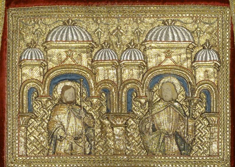 Manifattura veneziana sec. XV, San Giacomo e San Sebastiano