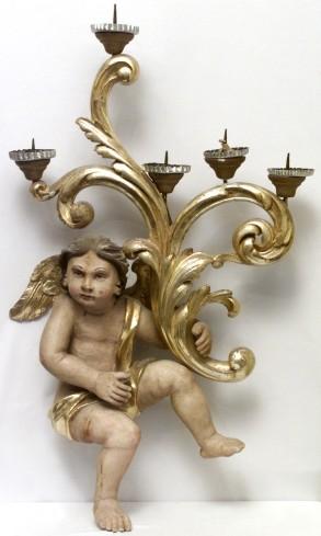 Ambito bergamasco sec. XIX, Candelabro in legno