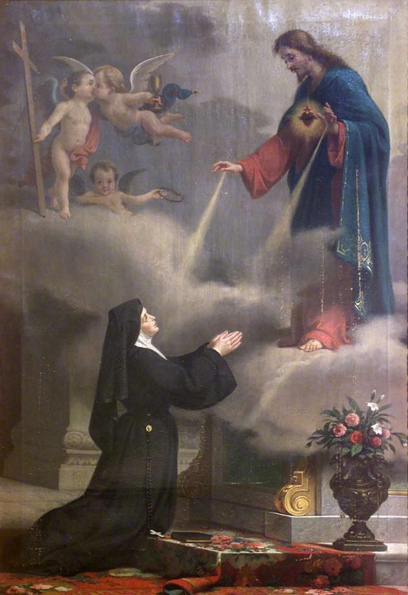 Ambito lombardo sec. XIX, S. Margherita Alacoque e il Sacro Cuore