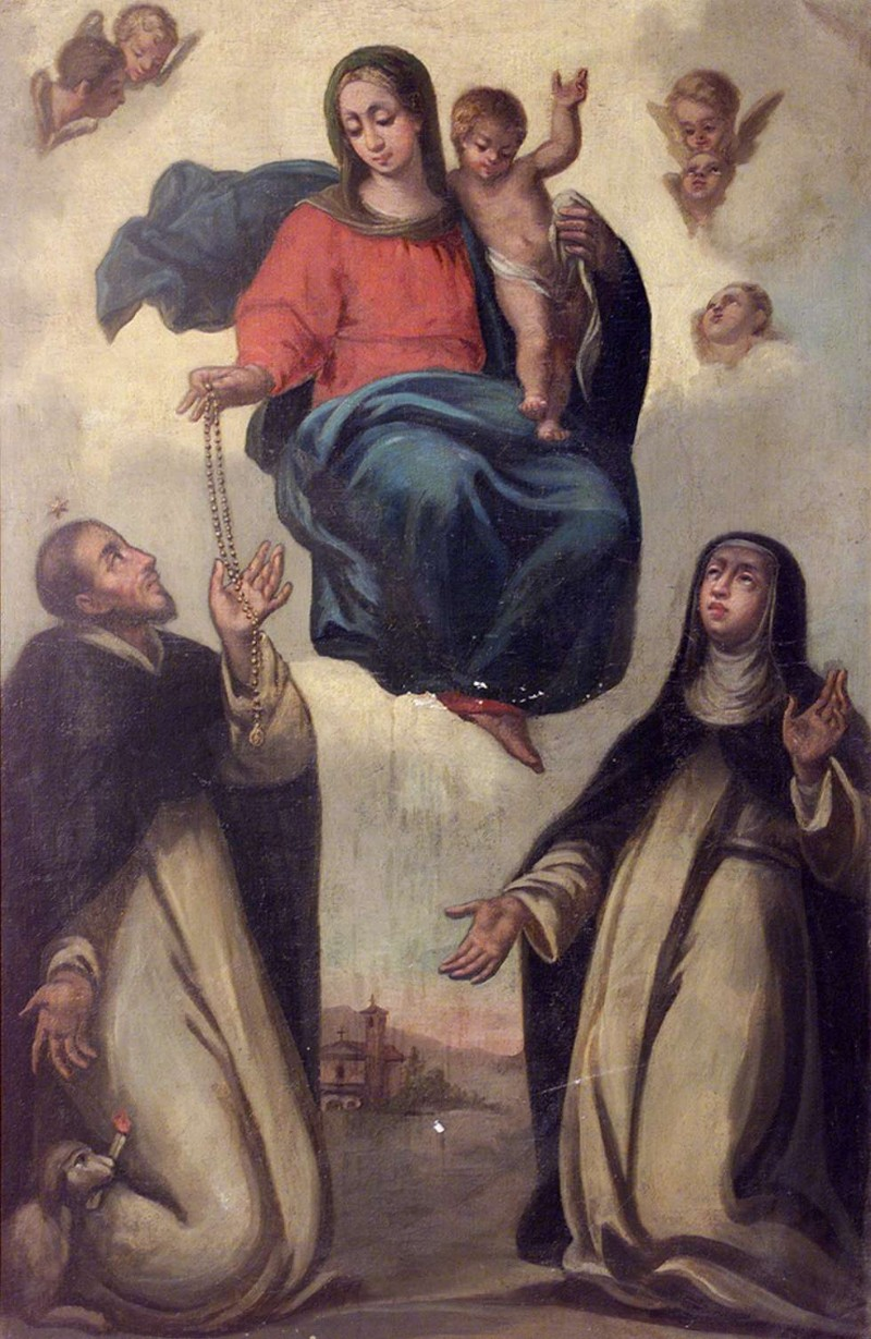 Ambito lombardo sec. XIX, Madonna del rosario e due Santi