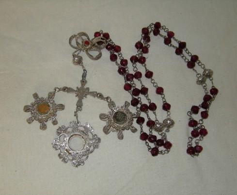Bottega sarda sec. XIX, Corona del rosario in argento filigranato