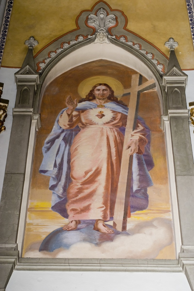 Melle G. sec. XX, Dipinto murale di Gesù redentore