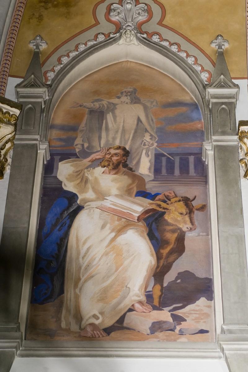 Melle G. sec. XX, Dipinto murale di San Luca Evangelista