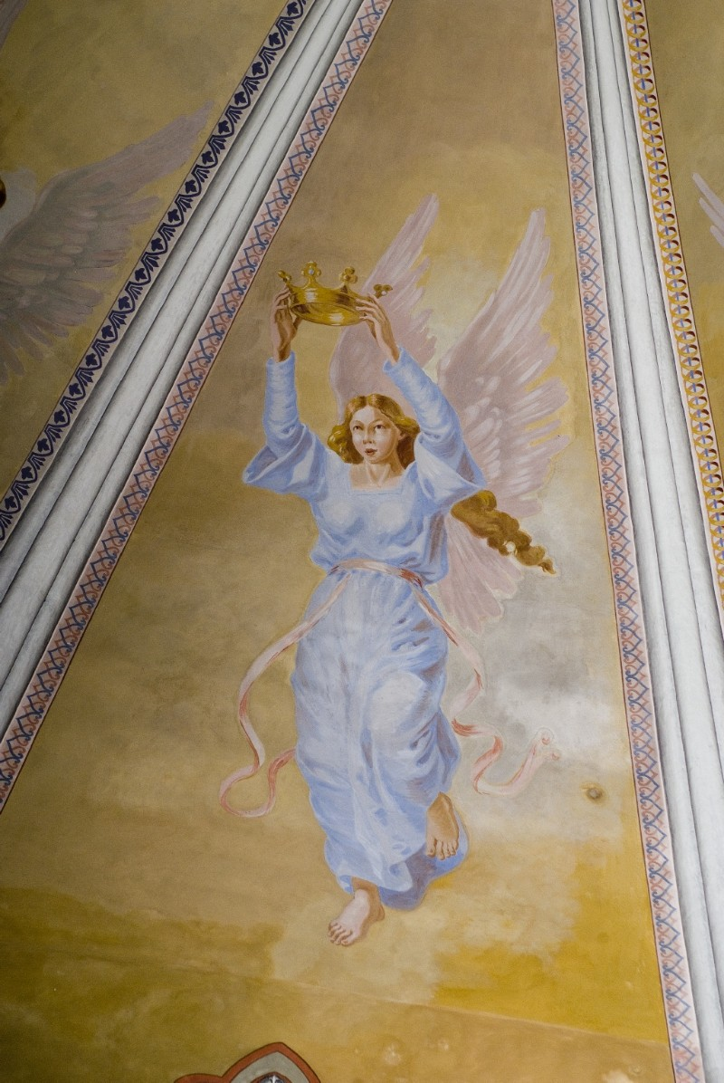 Melle G. sec. XX, Dipinto murale di angelo con corona