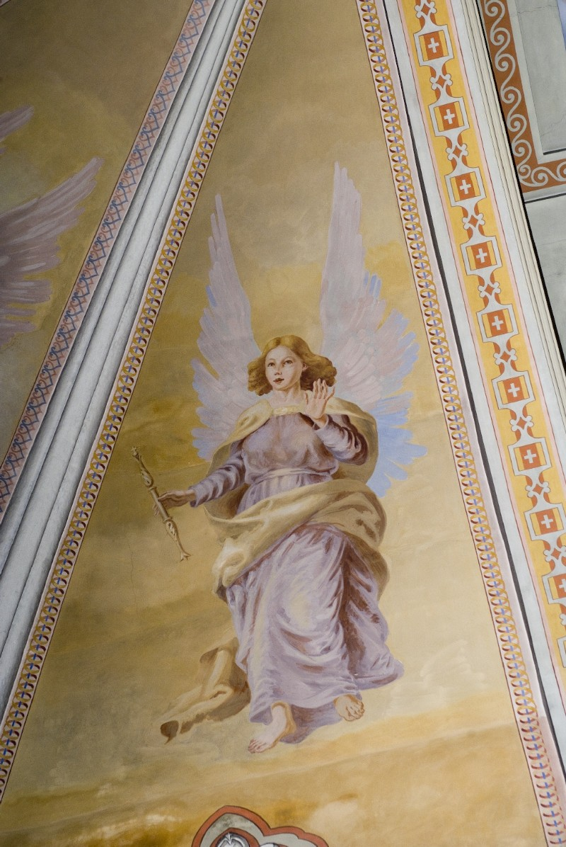 Melle G. sec. XX, Dipinto murale di angelo con scettro