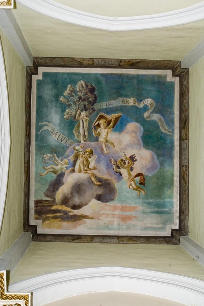 Melle G. (1955), Dipinto murale di angeli che reggono gli Oli Santi