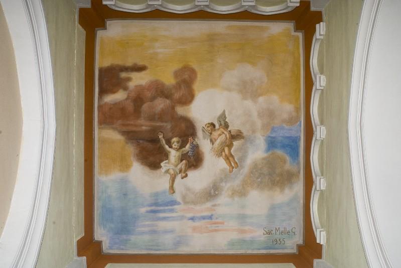 Melle G. (1955), Dipinto murale di angeli con simboli eucaristici