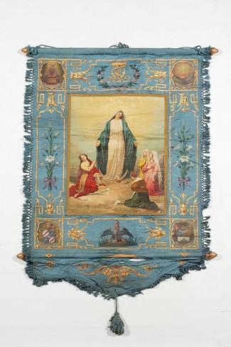 Manifattura italiana sec. XIX,Gonfalone azzurro delle Figlie di Maria