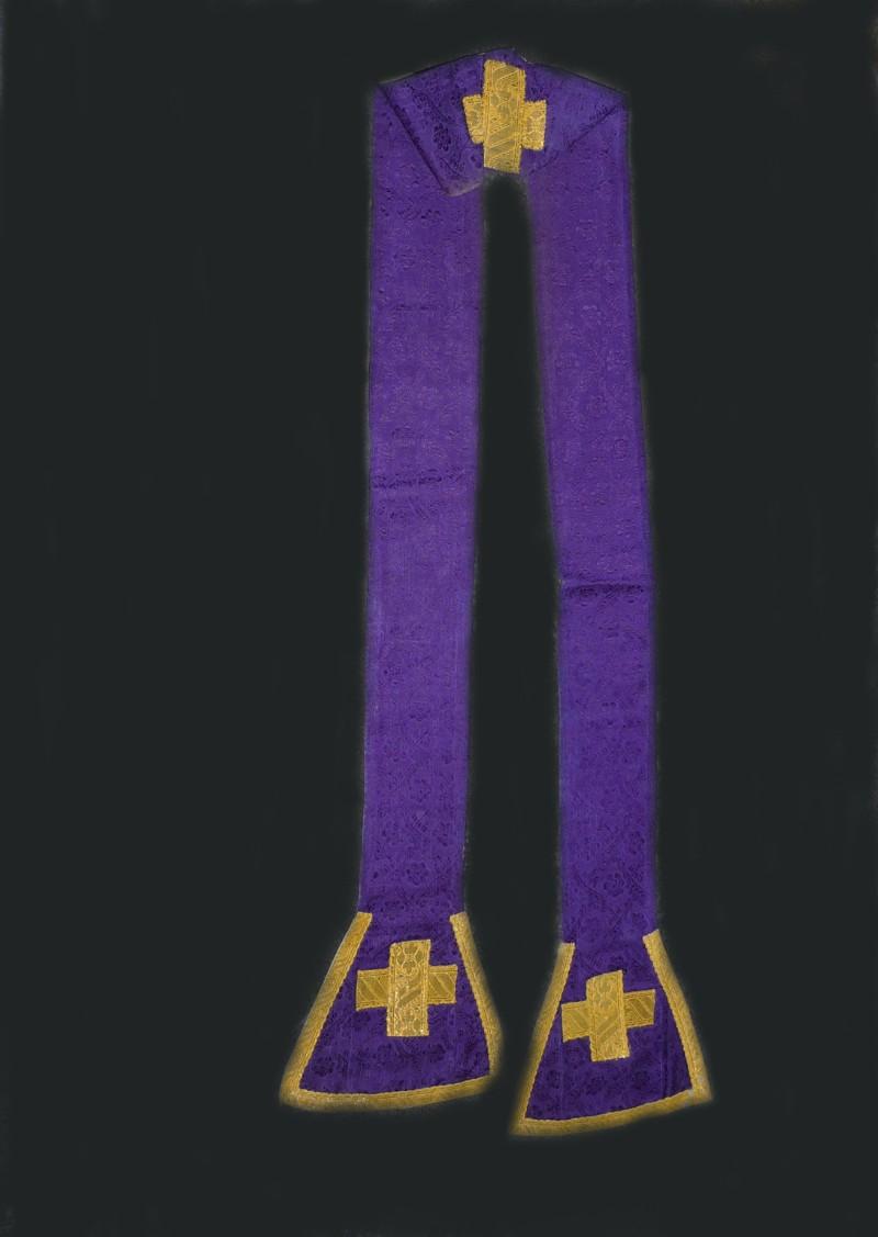 Manifattura ligure sec. XIX, Stola in damasco viola