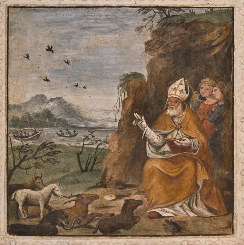 Ambito umbro sec. XVII, San Biagio benedice gli animali