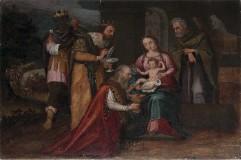 Ambito napoletano sec. XV, Dipinto con l'Adorazione dei Magi