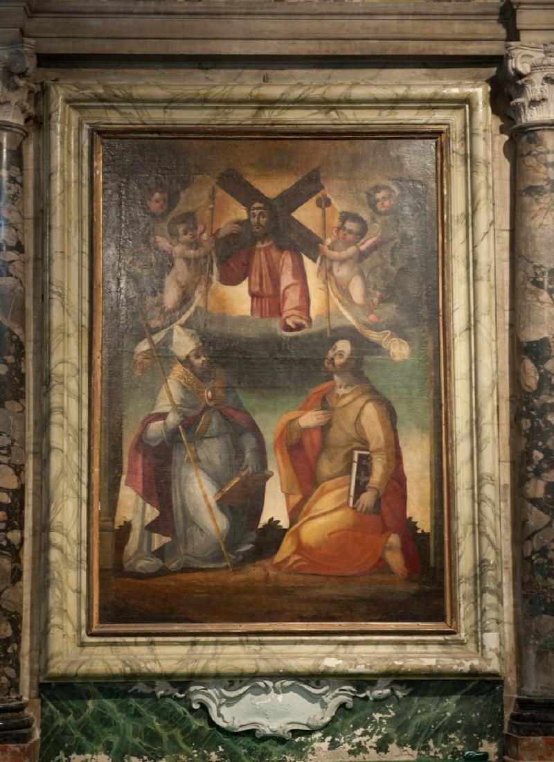 Ambito toscano sec. XVII, Dipinto di Gesù tra Santi Eligio e Ranieri