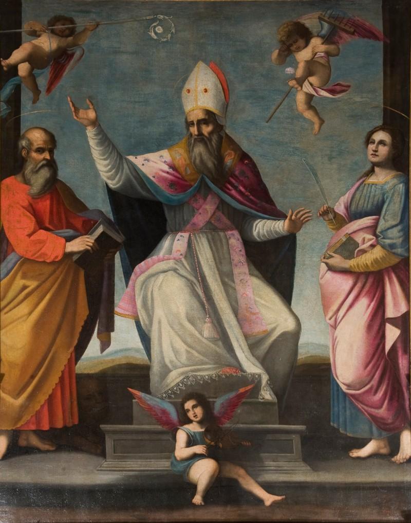Frediani A. sec. XVII, San Frediano tra Santi Girolamo e Lucia dipinto