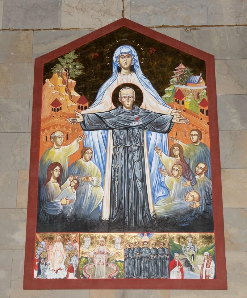 Ambito italiano sec. XX, Dipinto di Canonizzazione di Massimiliano Maria Kolbe