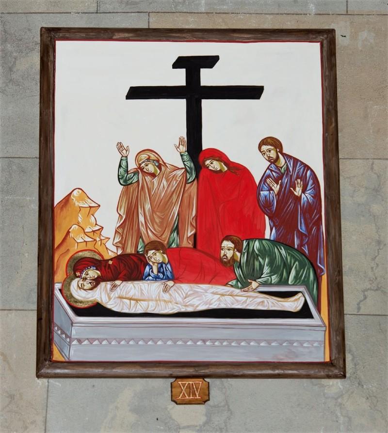 Ambito italiano sec. XXI, Dipinto di Gesù deposto nel sepolcro