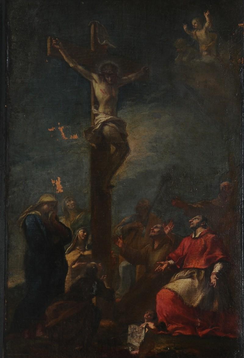 Ambito pisano sec. XVIII, Dipinto della Crocifissione con santi