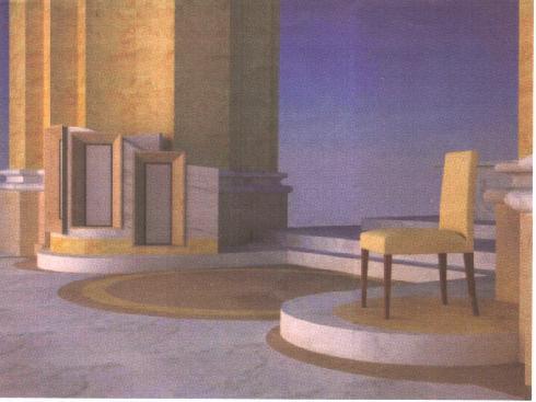 Ipotesi di adeguamento liturgico dell'area presbiterale: pianta. arch. Luigi Spaziani. Archivio diocesano