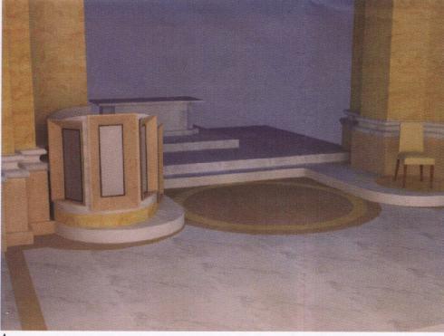 Ipotesi di adeguamento liturgico dell'area presbiterale: veduta dell'ambone arch. Luigi Spaziani. Archivio diocesano