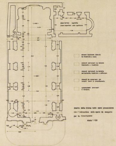 Plinio Marconi, Pianta della chiesa nello stato preesistente con l'indicazione delle opere da eseguire per la ricostruzione, PR0/26/34, Archivio Centrale dello Stato, Roma