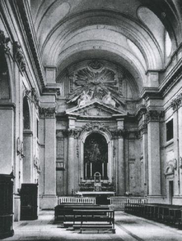 L'interno della cattedrale prima del bombardamento del 1944, (da Evangelista, Relazione storicoartistica cit., s.p.)