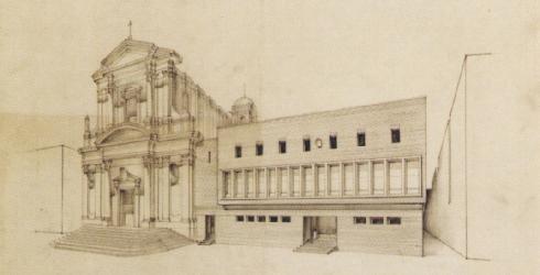Plinio Marconi, Veduta della piazza Vittorio Emanuele (proposta progettuale), tavola: matita su carta da lucido, PR0/26/21, Archivio Centrale dello Stato, Roma