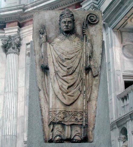 Altorilievo di sant'Abbondio nello schienale della cattedra