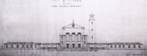 Prospetto del frontale esterno. Oriolo Frezzotti. Archivio del Comune di Latina. Fondo Oriolo Frezzotti. Repertorio