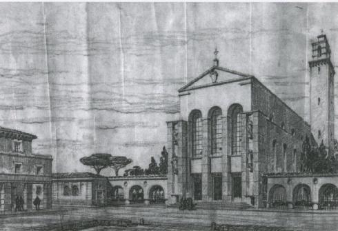 Prospettiva esterna. Oriolo Frezzotti. Archivio del Comune di Latina. Fondo Oriolo Frezzotti. Repertorio