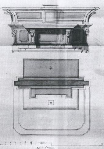Altare maggiore nel progetto di restauro del1776-1780 (da Angelini. La cattedrale di Priverno cit., p. 47)