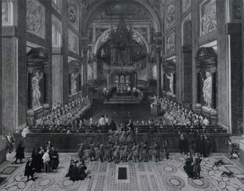Altare papale con i cancelli rimossi da Paolo VI (foto da Anderson, da S. Ortolani San Giovanni in Laterano in Le chiese di Roma illustrate 13 Roma 1925 p.57