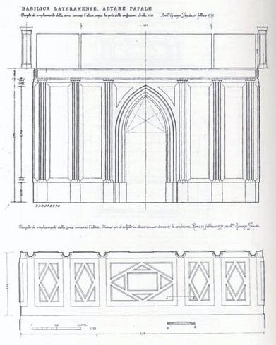 G. Zander, Roma Basilica Lateranense, progetto di ampliamento della zona dinanzi l'altare da R. Luciani, M. O. Zander, P. Zander, Giuseppe Zander architetto, Fratelli Palombi Roma 1997, p. 192