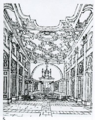 Disegno prospettico dell'interno dell'arch. G. Zander, circa 1953 (da R. Luciani, M.O. Zander, P. Zander, Giuseppe Zander architetto, Fratelli Palombi Roma 1997, p.71)