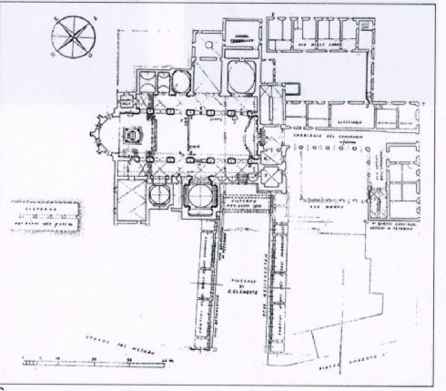 Pianta della situazione fino al XVI sec. dell'arch. G. Zander, (da R. Luciani, M.O. Zander, P. Zander, Giuseppe Zander architetto, Fratelli Palombi Roma 1997, p.71)