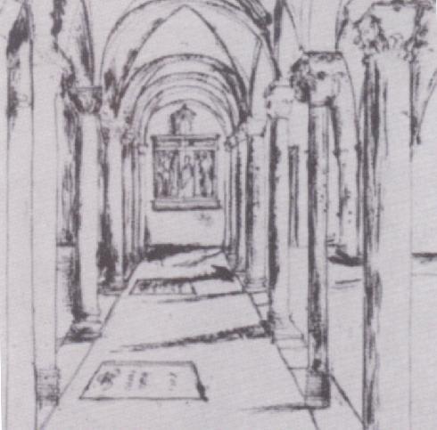 Disegno dell'altare settecentesco della cripta (da Apollonj Ghetti. Antica Architettura sacra cit.. p. 296)