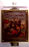 Tavano M. sec. XX, Dipinto di Gesù che cade la prima volta