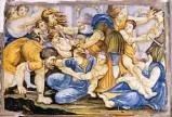 Ambito castellano sec. XVII, Formella angolare con Strage degli innocenti 2/2