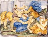 Ambito castellano sec. XVII, Medaglione con la pesca miracolosa