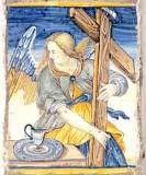 Ambito castellano sec. XVII, Formella con Angelo con croce e catino