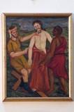 Adamo C. (1964), Gesù Cristo spogliato e abbeverato di fiele in olio su tavola