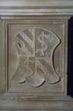 Agostino di Duccio (1449-1456), Bassorilievo con scudo inquartato 1/2